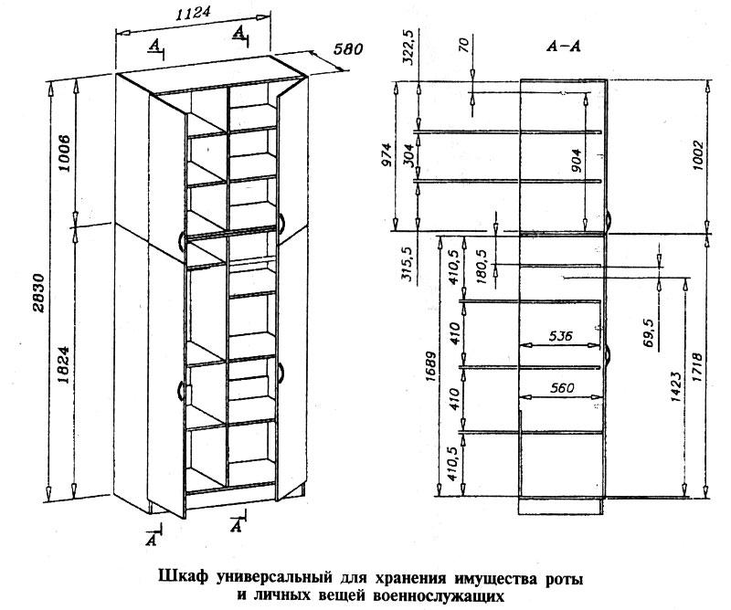 Шкаф универсальный для хранения имущества роты и личных вещей военнослужащих
