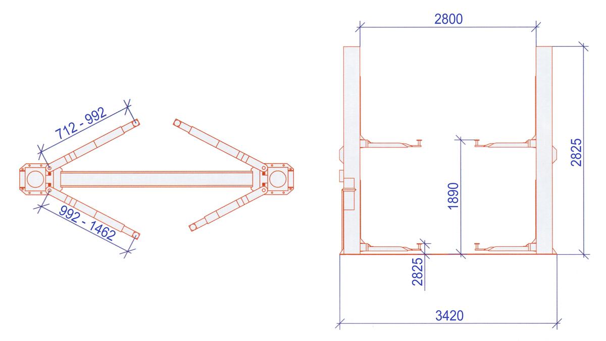 Схема двухстоечного гидравлического подъемника А240M1