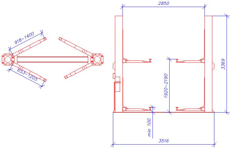 Схема двухстоечного гидравлического подъемника A245M1