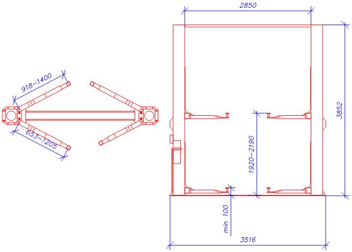 Схема двухстоечного гидравлического подъемника А245C