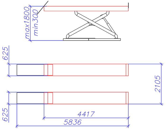 Чертеж ножничного подъемника X400