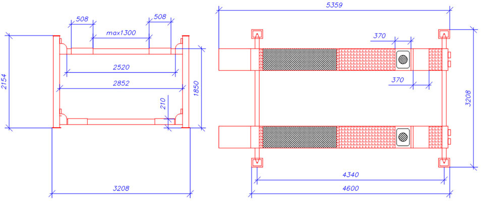 Схема четырехстоечного элетрогидравлического подъемника ATIS А440А