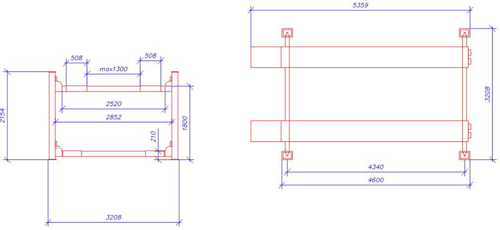 Схема четырехстоечного элетрогидравлического подъемника ATIS А440