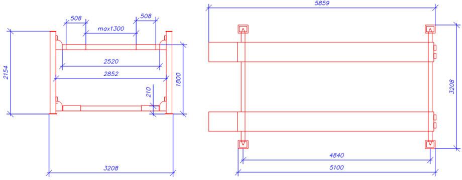 Схема четырехстоечного элетрогидравлического подъемника ATIS А450