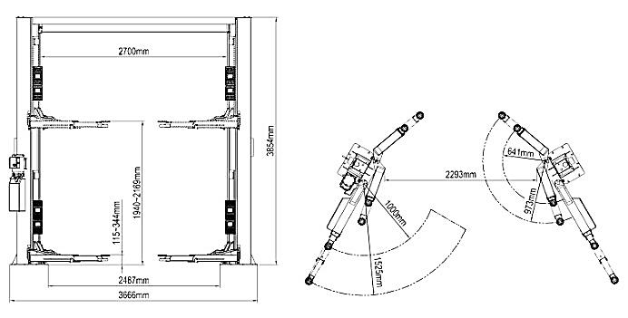 Схема двухстоечного асимметричного подъемника Atis A245ACM