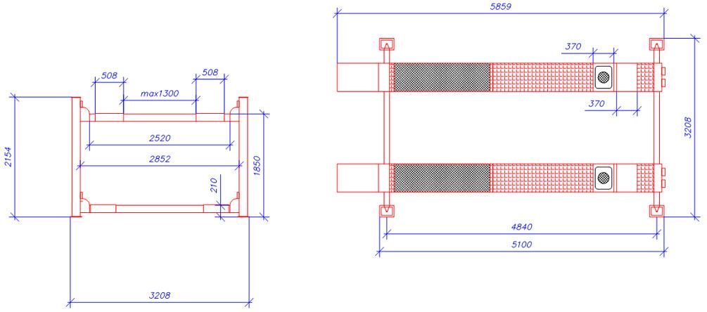 Схема четырехстоечного элетрогидравлического подъемника ATIS А455А