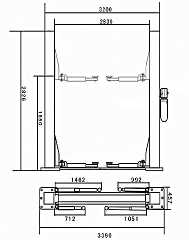 Схема двухстоечного гидравлического подъемника Dataliner LF-140B