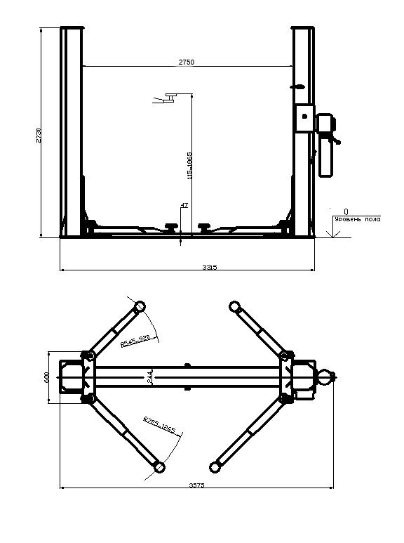 Схема двухстоечного электрогидравлического подъемника П2-07