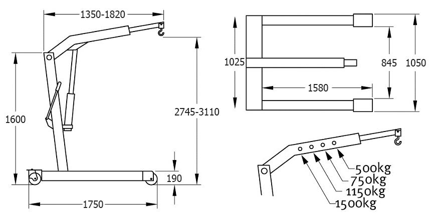 Схема гидравлического крана Compac CC15P