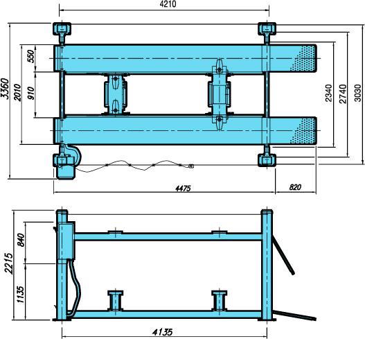 Схема (чертеж) четырехстоечного подъемника Heshbon HL-3300W