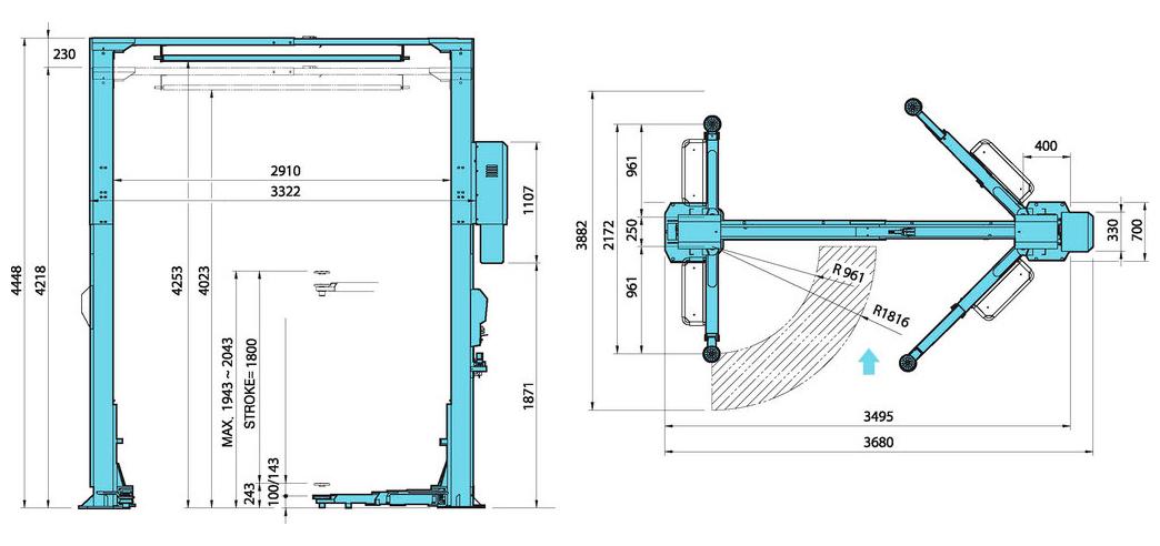 Схема (чертеж) двухстоечного подъемника Heshbon HL-27K