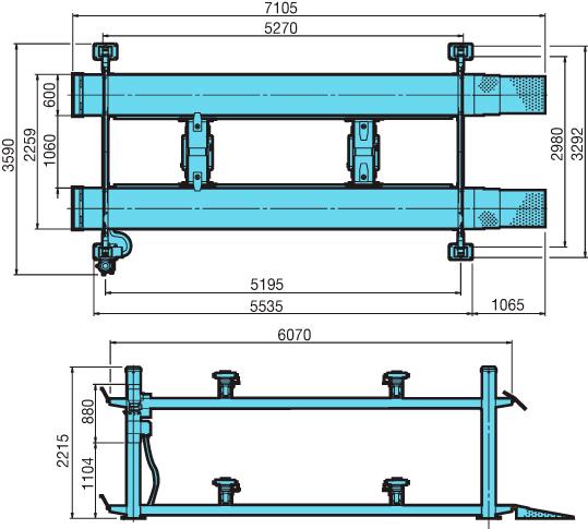 Схема (чертеж) четырехстоечного подъемника Heshbon HL-46H