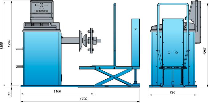 Схема грузового балансировочного станка Heshbon HW-131