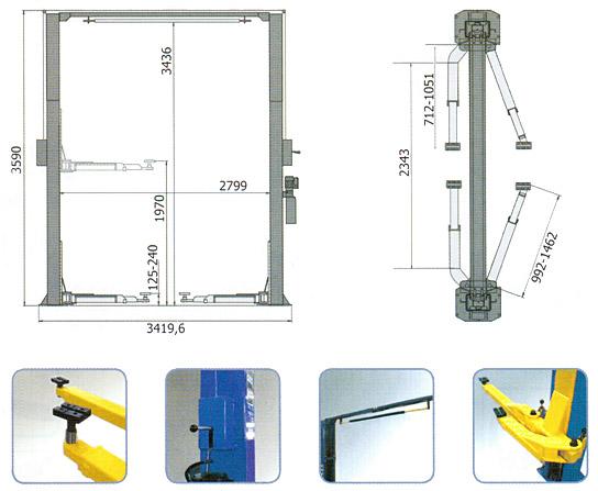 Схема-чертеж двухстоечного подъемника AE&T S4D-2