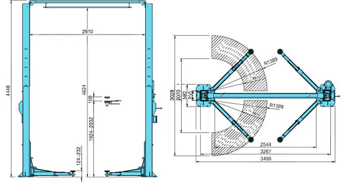 Схема (чертеж) двухстоечного подъемника Heshbon HL-27M