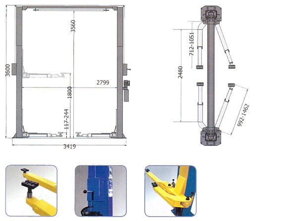 Схема-чертеж двухстоечного подъемника AE&T S4B-2