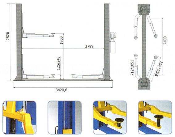 Схема-чертеж двухстоечного подъемника AE&T T4