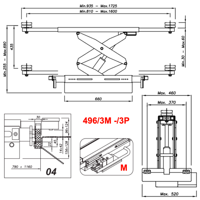 Схема гидравлической траверсы Werther 496/3M.4 (OMA 542R.04)