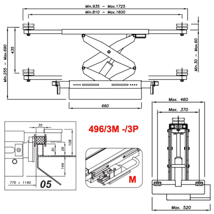 Схема гидравлической траверсы Werther 496/3M.5 (OMA 542R.05)
