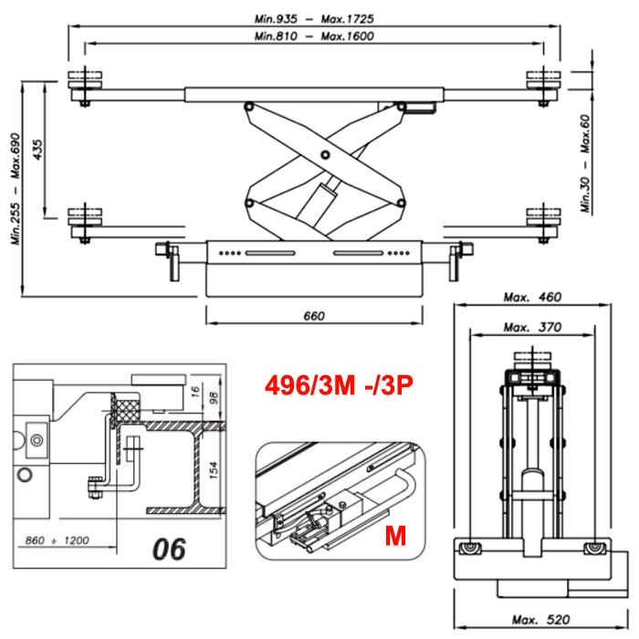 Схема гидравлической траверсы Werther 496/3M.6 (OMA 542R.06)