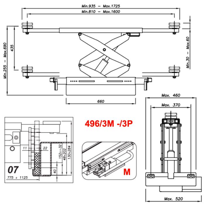 Схема гидравлической траверсы Werther 496/3M.7 (OMA 542R.07)