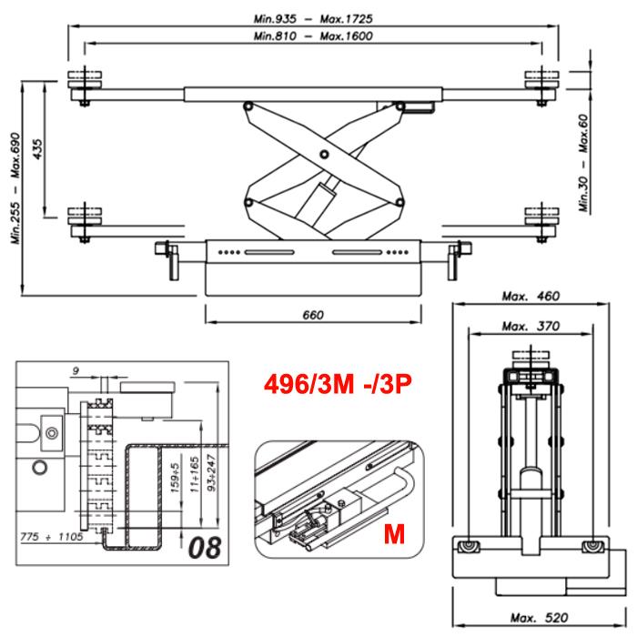 Схема гидравлической траверсы Werther 496/3M.8 (OMA 542R.08)
