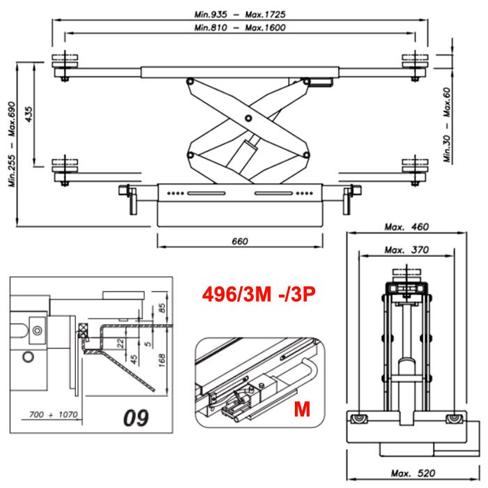 Схема гидравлической траверсы Werther 496/3M.9 (OMA 542R.09)