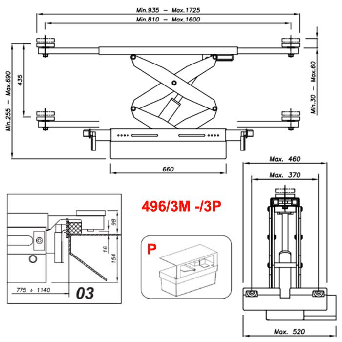 Схема гидравлической траверсы с певмоприводом Werther 496/3P.3 (OMA 542RA.03)