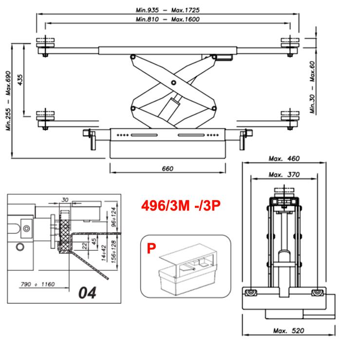 Схема гидравлической траверсы с певмоприводом Werther 496/3P.4 (OMA 542RA.04)