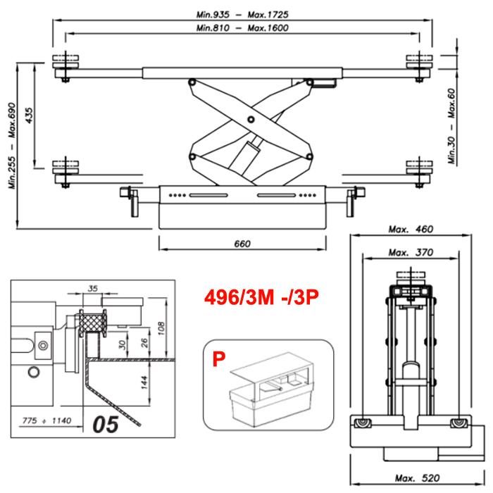 Схема гидравлической траверсы с певмоприводом Werther 496/3P.5 (OMA 542RA.05)