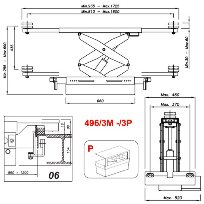 Схема гидравлической траверсы с певмоприводом Werther 496/3P.6 (OMA 542RA.06)