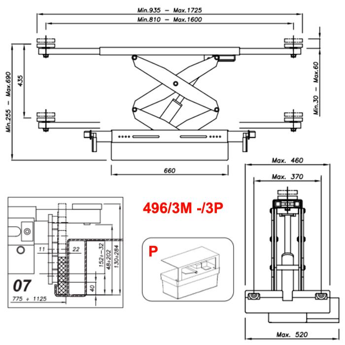 Схема гидравлической траверсы с певмоприводом Werther 496/3P.7 (OMA 542RA.07)