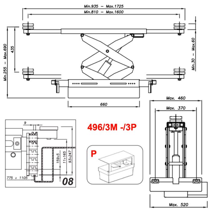 Схема гидравлической траверсы с певмоприводом Werther 496/3P.8 (OMA 542RA.08)