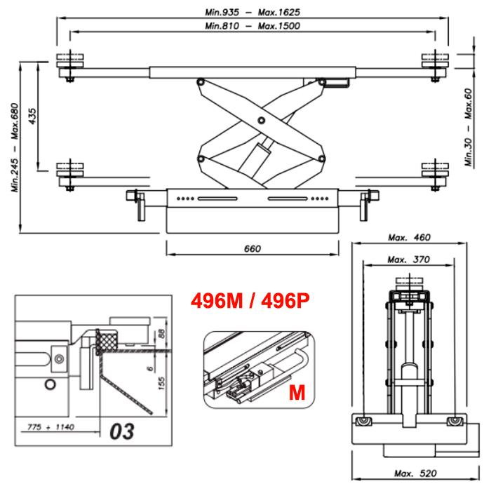 Схема ручной гидравлической траверсы Werther 496M.3 (OMA 542.03)