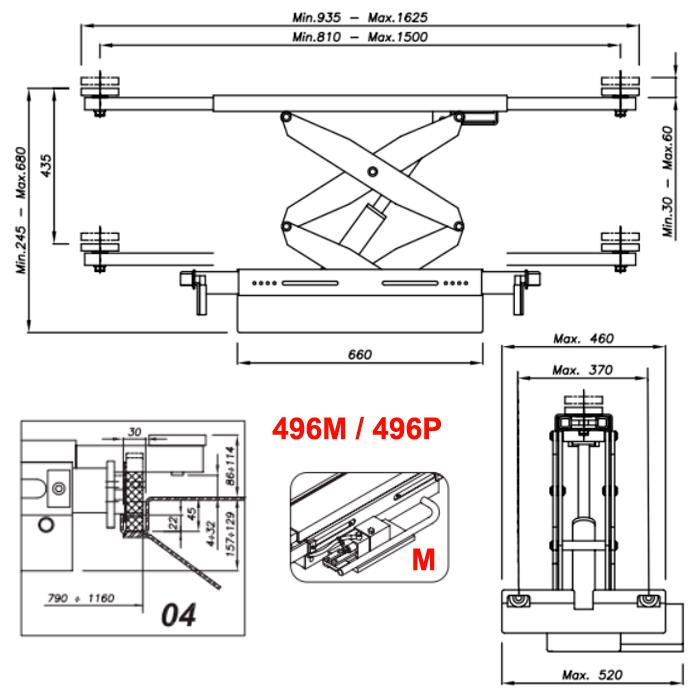 Схема ручной гидравлической траверсы Werther 496M.4 (OMA 542.04)