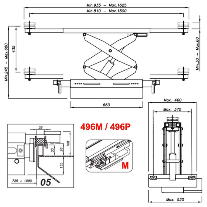 Схема ручной гидравлической траверсы Werther 496M.5 (OMA 542.05)