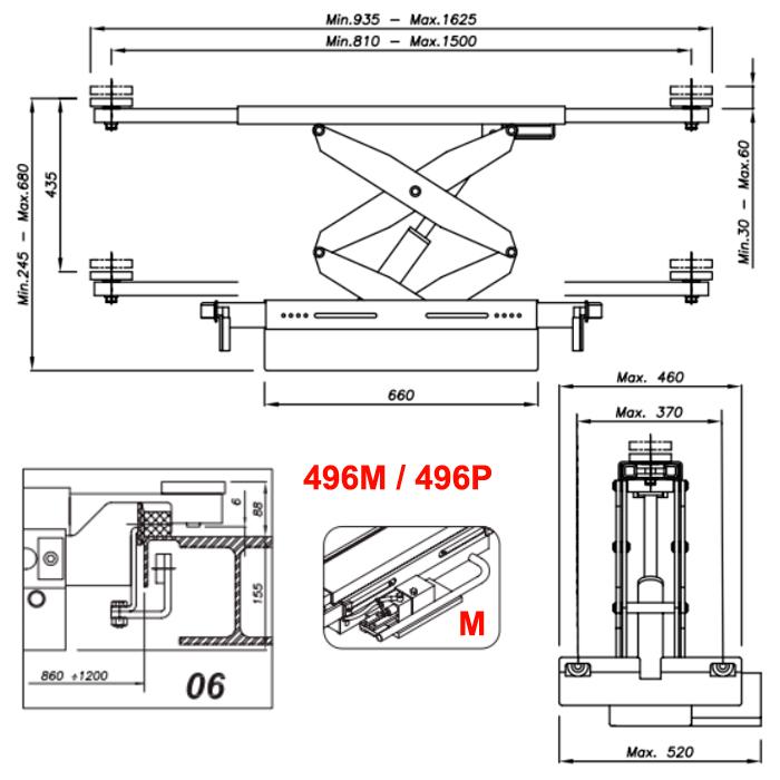 Схема ручной гидравлической траверсы Werther 496M.6 (OMA 542.06)