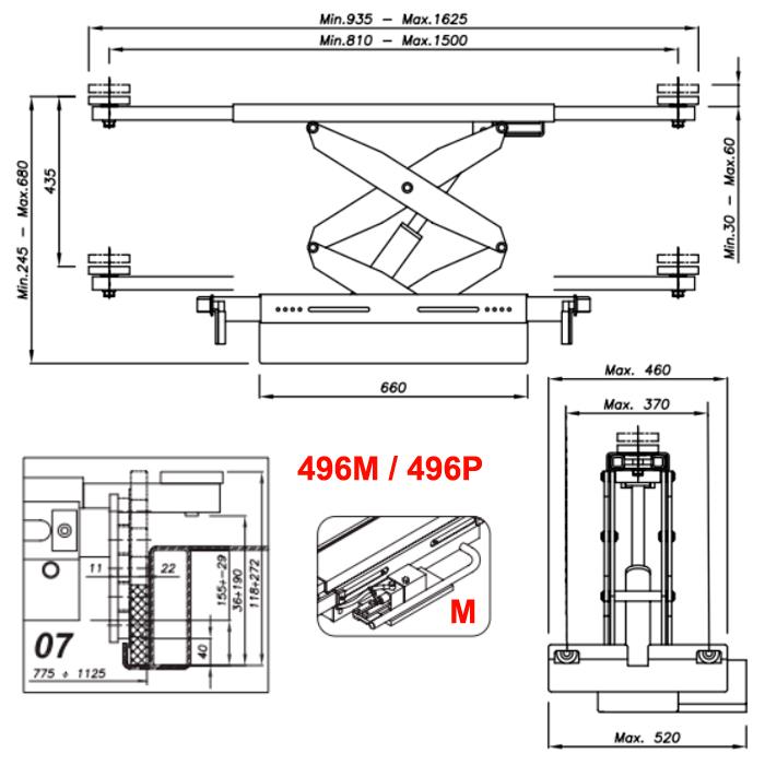 Схема ручной гидравлической траверсы Werther 496M.7 (OMA 542.07)