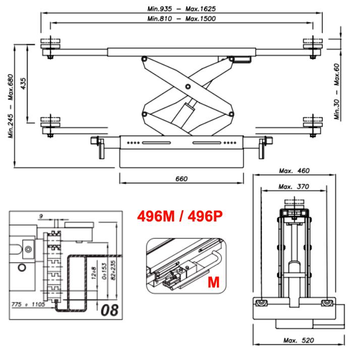 Схема ручной гидравлической траверсы Werther 496M.8 (OMA 542.08)