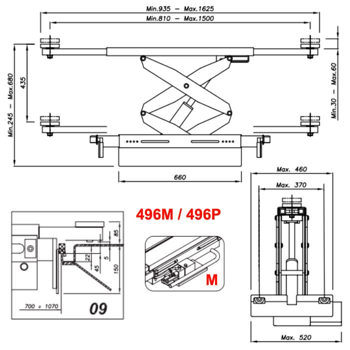 Схема ручной гидравлической траверсы Werther 496M.9 (OMA 542.09)