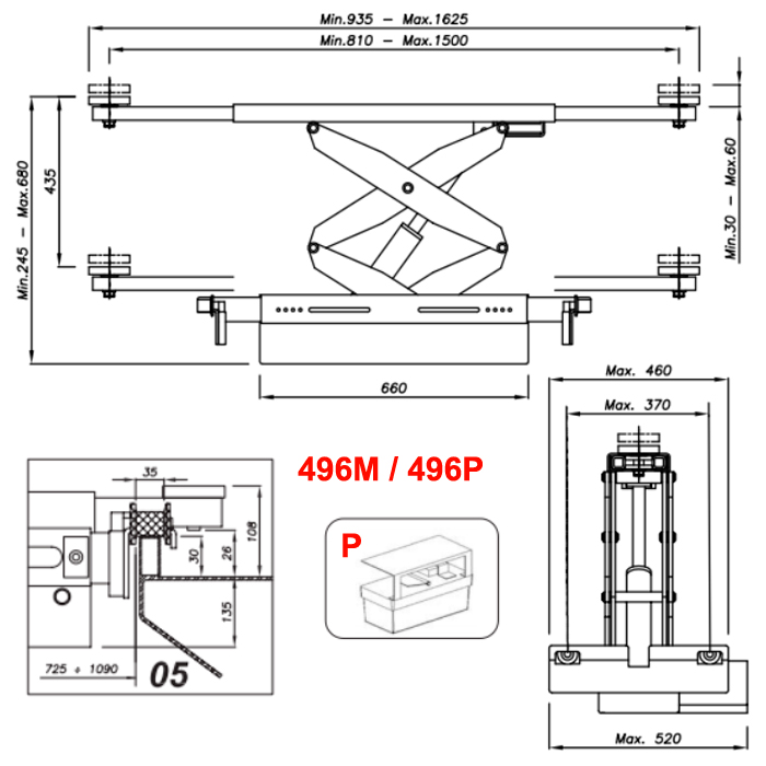 Схема гидравлической траверсы с певмоприводом Werther 496P.5 (OMA 542A.05)