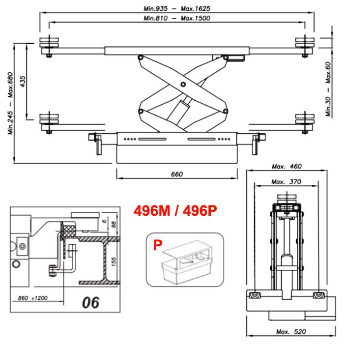 Схема гидравлической траверсы с певмоприводом Werther 496P.6 (OMA 542A.06)