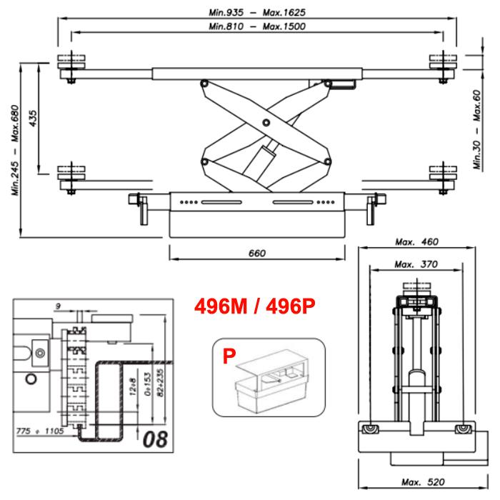 Схема гидравлической траверсы с певмоприводом Werther 496P.8 (OMA 542A.08)