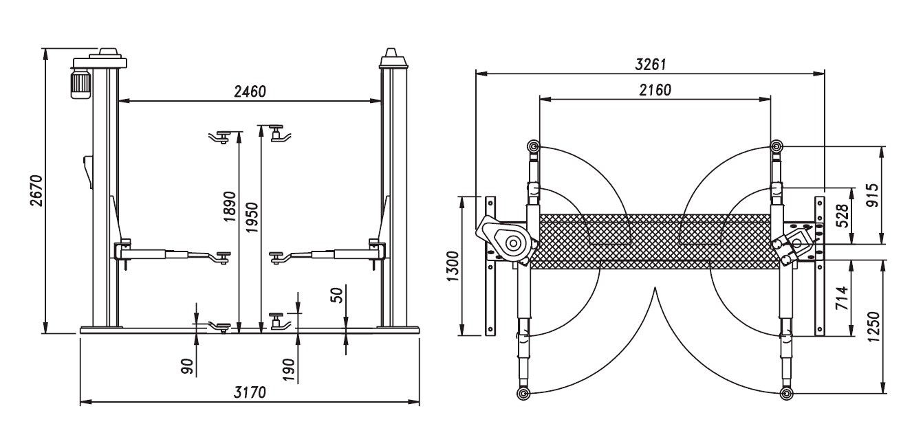 Схема (чертеж) двухстоечного подъемника OMA 503 (Werther 301)