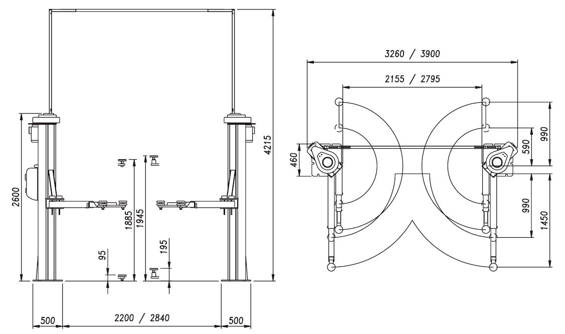 Схема (чертеж) двухстоечного подъемника OMA 504A (Werther 300S)