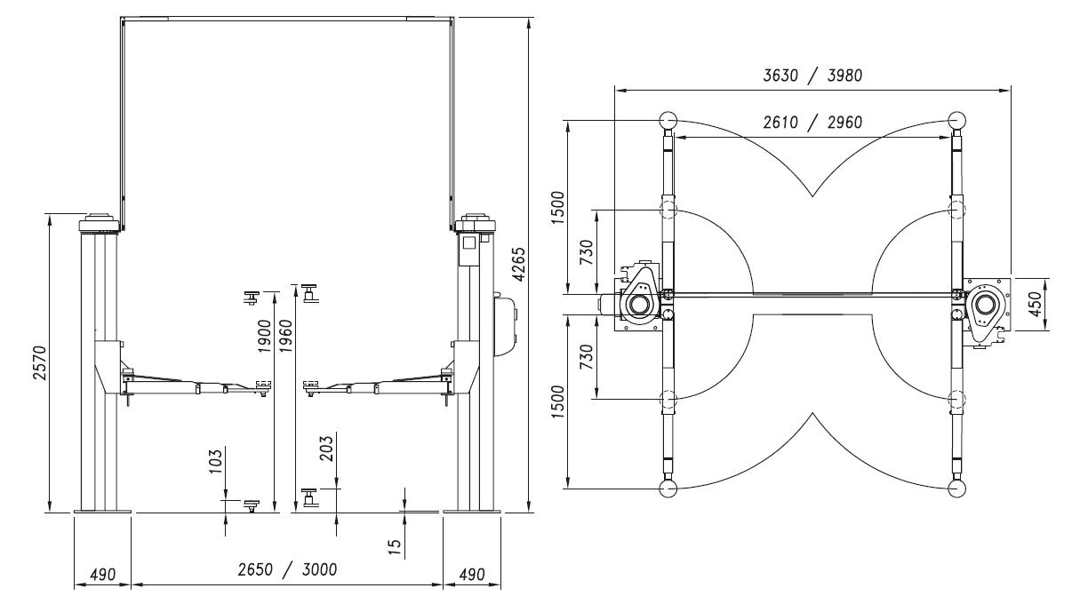 Схема (чертеж) двухстоечного подъемника OMA 505C (Werther 254S/4)