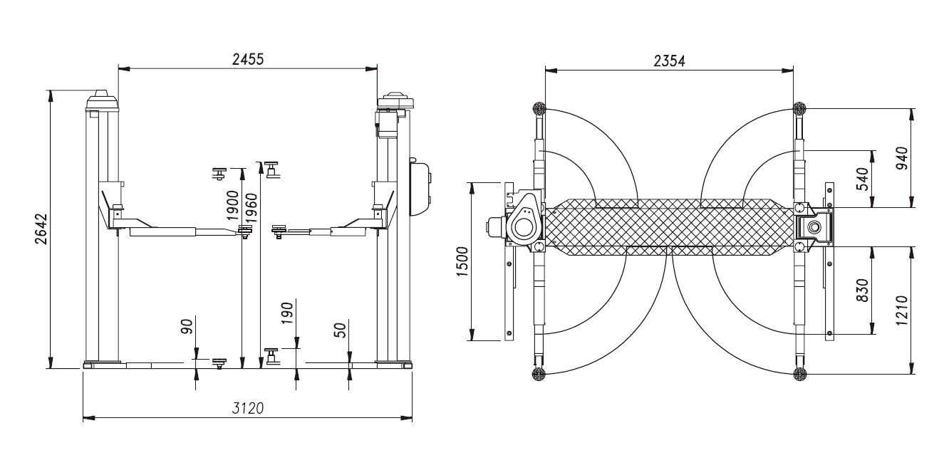 Схема (чертеж) двухстоечного подъемника OMA 506C (Werther 253/3)