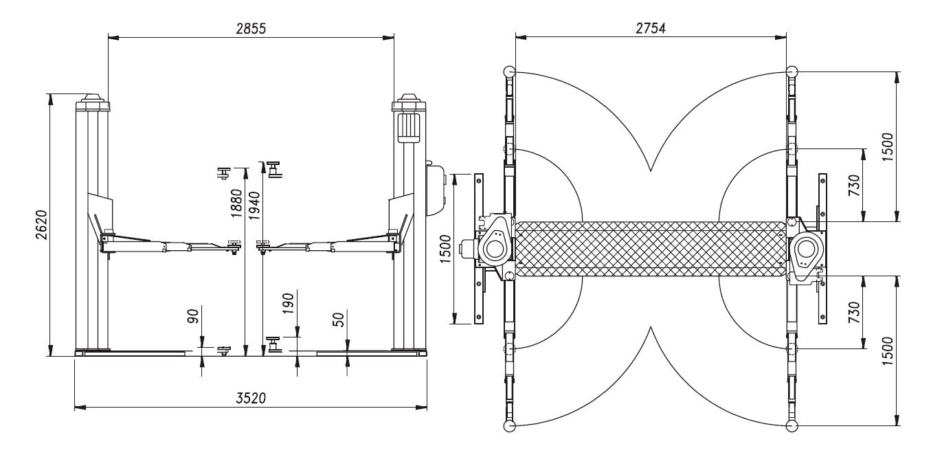 Схема (чертеж) двухстоечного подъемника OMA 507 (Werther 254BF)