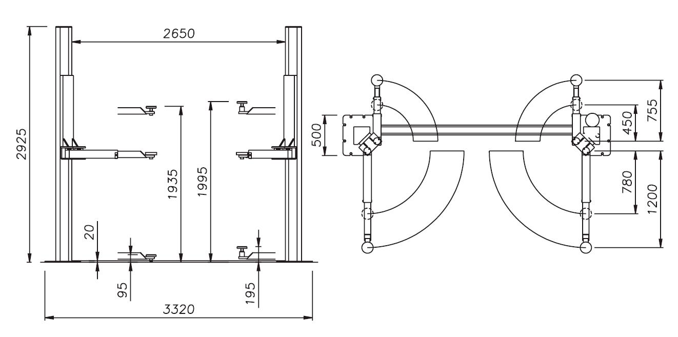 Схема (чертеж) двухстоечного подъемника OMA 514C (Werther 229I)