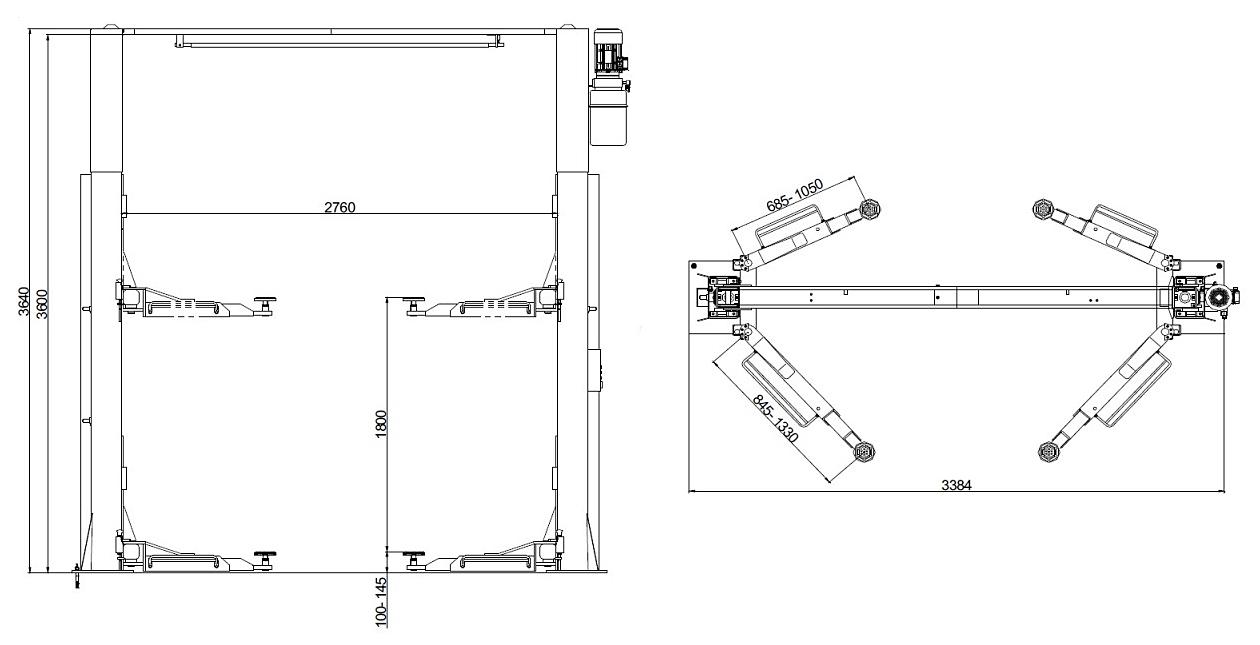 Схема двухстоечного подъемника Werther 204I/A 3SF